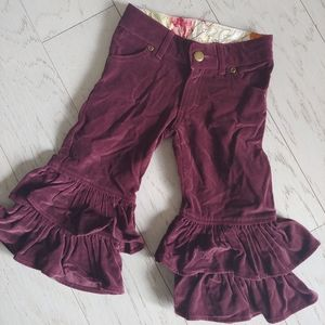 Persnickety velour double ruffle pants